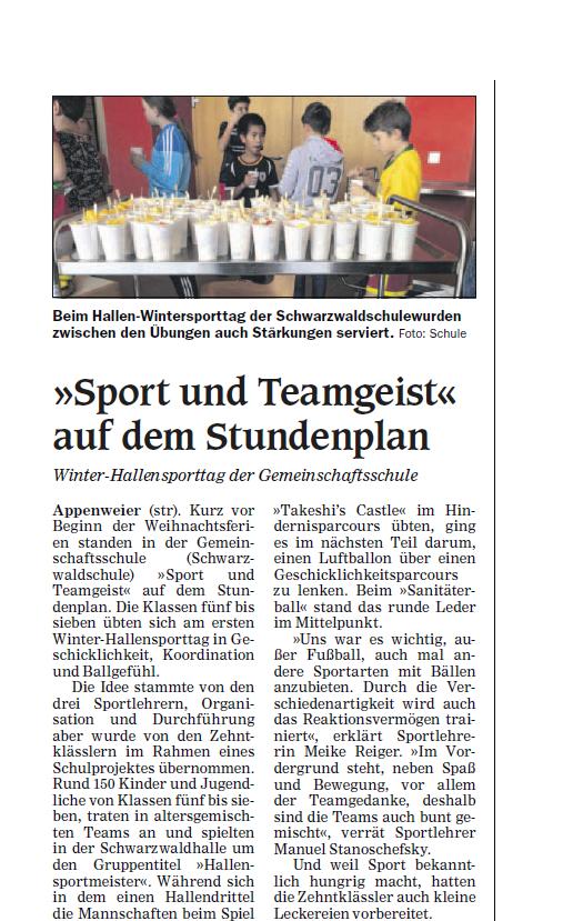 Zeitungsartikel zum Winterhallensporttag